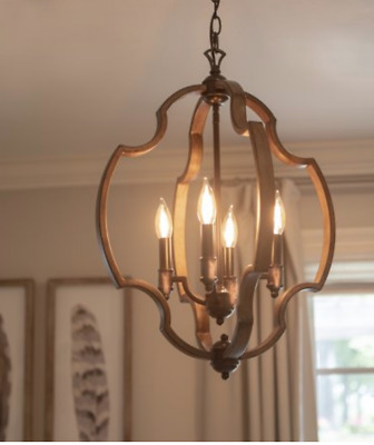 Hanging Light Fixture Rustic Pendant Farmhouse Foyer Dining Chandelier Wood