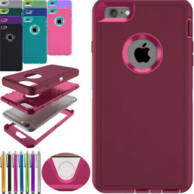 Hybrid Heavy Duty Shockproof Rubber Cover Case For iPhone 6 6S 7 Plus XS Max XR