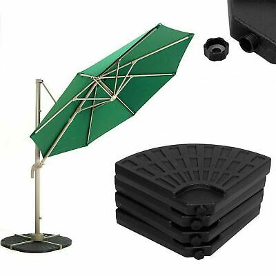 4 Piece Black Parasol Base Stand Weights for Banana Hanging Cantilever Umbrella