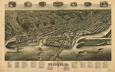 A4 Reprint of American Cities Towns States Map Dubuque Iowa