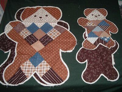 Vtg 80s Momma & Baby Calico Bears Doll Toy Pillow Cut To Sew Fabric Panel #pb