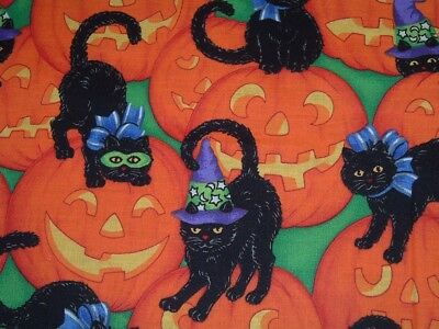 Vtg 90s Stacked Black Cats Pumpkins Halloween Quilt Sew Fabric 52x44 OOP #ob WOW