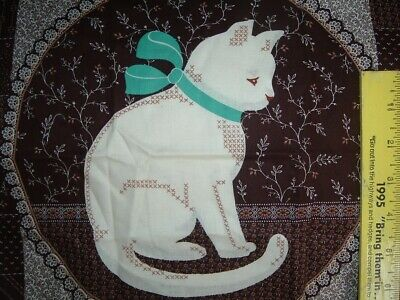 Vtg 80s Country Kitty Teal 2 Quilt Blocks Pillow Fabric Panel XStitch Sew #pb8