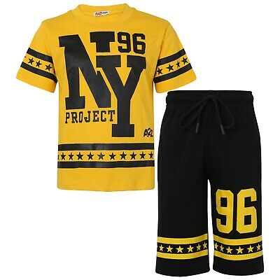 Kids Boys Girls T Shirts Shorts Set 100% Cotton NY New York Top Short 5-13 Yrs