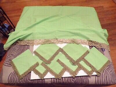 Vintage Green With Brown Lace Edged Tablecloth and Napkin Set