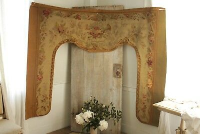 Aubusson tapestry Pelmet 19th century portiere textile French woven wool floral