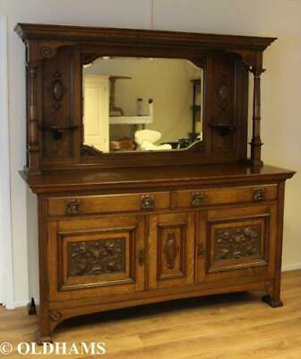 Stunning Art Noveau Period Mirror Backed Dresser in Solid Oak - Carved Panels