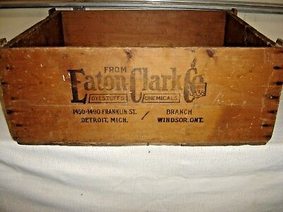 Antique Country Store Advertising Box Eaton Clark Co. Dyestuffs Chemicals 8983