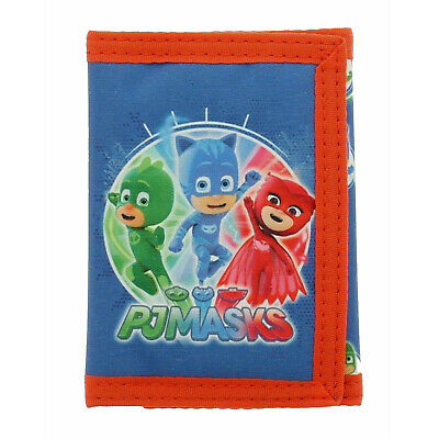 PJ Masks Heroes Tri-Fold Childrens Wallet Blue Kids Hook & Loop