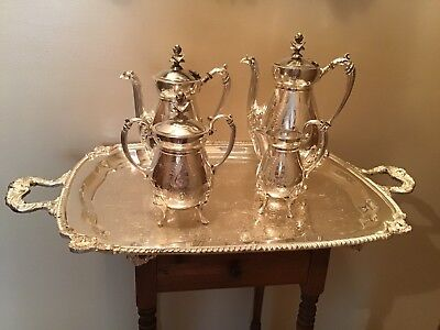 Rare Rogers Bros 1800's Egyptian Revival Silverplate Teaset W/Tray