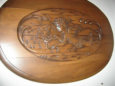 Antique Carved Oval Mahogany Wall Hanging Winged Cherub and butterfly 8047