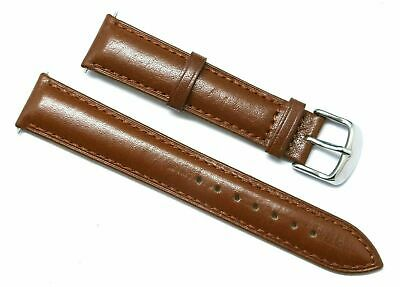 18mm Brown Quality Genuine Smooth Leather Watch Band Silver Buckle Womens Mens