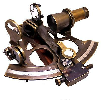 8,Collectible Nautical Brass Working German Marine Sextant With Wooden Box