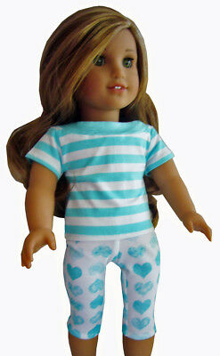 """For 18"""" American Girl Doll Clothes Aqua Heart 2 Pc Summer Capri's & Top Outfit"""