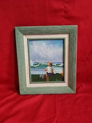 "Original Acrylic Painting Sitting Boy At The Beach 15""x12"" signed"