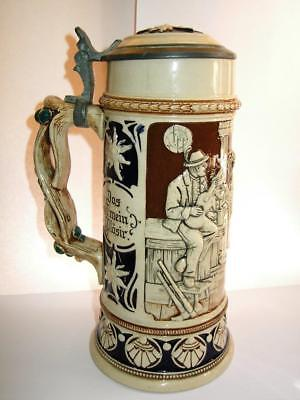 Vintage large German stone pottery Beer Stein mug musicians in bar Early 20thC