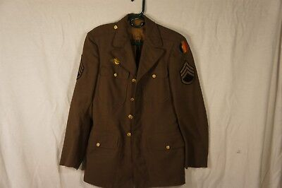 World War II Army Jacket, Replacement School Command, SSgt, laundry mark B-1380