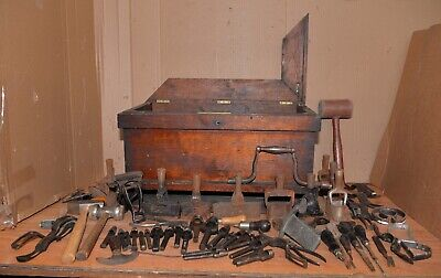 Saddlers leather working tool lot dies punch hammer vise antique dovetail chest