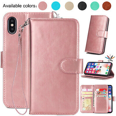 For iPhone 8 Plus Case 7 6s Plus Magnetic Leather Stand Card Holder Wallet Cover