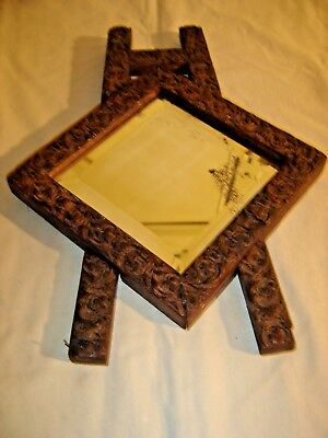 Antique  Gesso Diamond Shaped Beveled Mirror attached to an H frame ~053