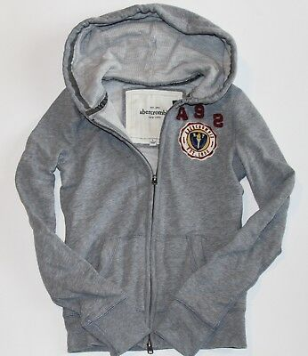 NWT! Abercrombie KIDS Girls Vintage Classic Zip Up Hoodie Sweatshirt Grey L