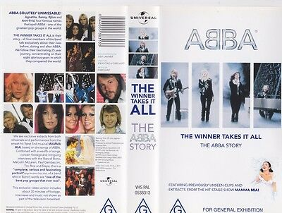 Abba The Winner Takes It All The Abba Story  Vhs Video Pal~ A Rare Find