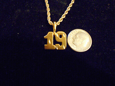 bling gold plated SPORTS number 19 pendant charm hip hop necklace JEWELRY GP EP