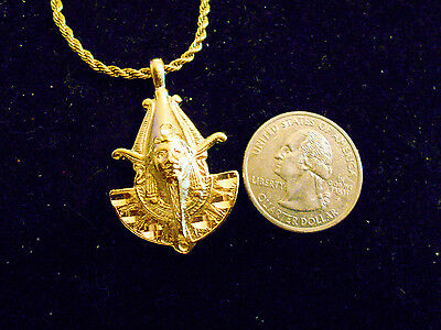 bling gold plated egyptian GOD KING MYTH pharaoh pendant Charm CHAIN Necklace GP