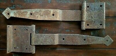 "ANTIQUE IRON HAND FORGED DOOR HINGES 19th c. LARGE ! 23"" Long with Plate PAIR"