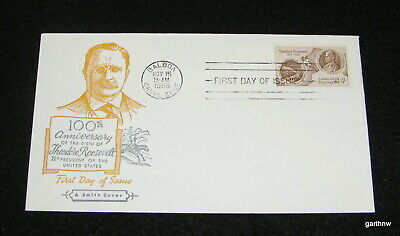 Theodore Roosevelt 1958 Panama Canal First Day Art Cover 100Th Birth Anniversary