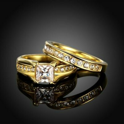 18K Gold Plated Stainless Wedding Steel Couple Ring Engagement Rings Set (2 pcs)