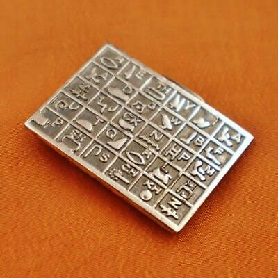 Antique Egyptian Solid Silver Money Holder Clip of Ancient Hieroglyphics_Stamped