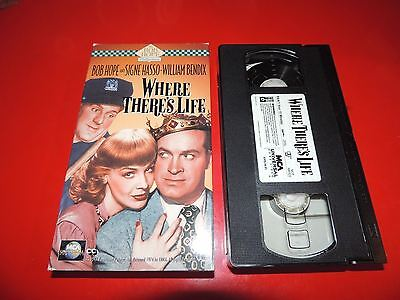 VHS Where There's Life: Bob Hope Signe Hasso William Bendix George Zucco Marshe