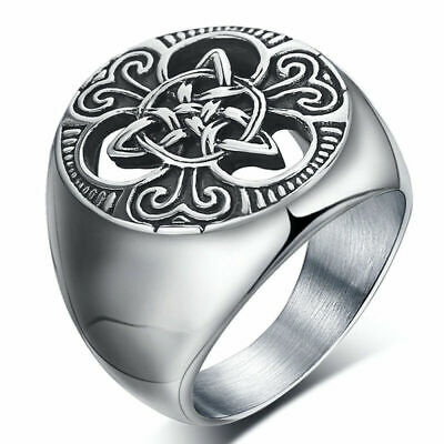 vintage Retro Mens Stainless Steel Ring Round Celtic Knot Signet Rings Size 7-15