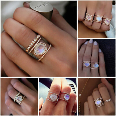 Boho Moonstone vintage Ring Oval 14k Rose Gold Xmas Gift Jewelry For Women new