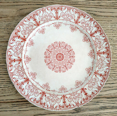Westhead Moore Antique Plate Cauldon Ware Dinner England Red White Faience Vtg