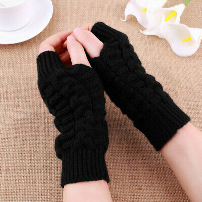 Unisex Mitten Knitted Fingerless Autumn Winter Gloves Long Stretchy Gloves RY