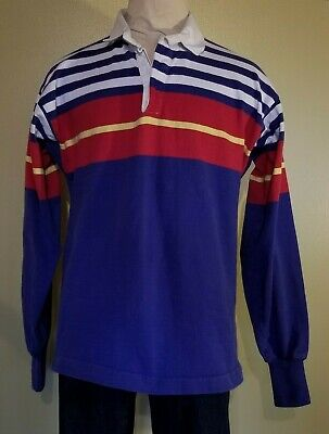 d1c4a0a31 VTG 90s Mens LL Bean XL Color Block Striped L/S Thick Rugby Jersey Polo