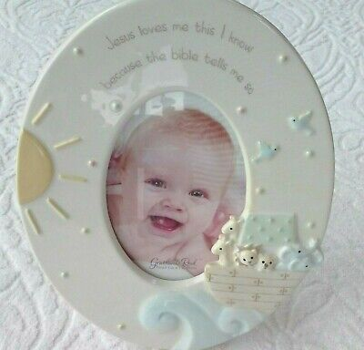 Grasslands Road Jesus Loves Me This I Know Noah's Ark Ceramic Baby Photo Frame