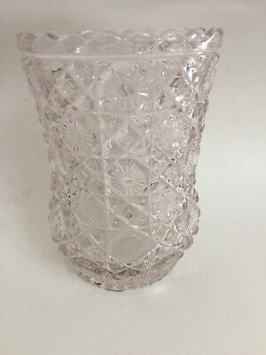 "Clear Cut Glass Daisy And Button Pattern Celery Vase~ 6""Tall~ 1888 Press Glass"