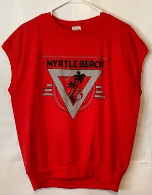 Vintage 80s Myrtle Beach Retro 1988 Sleeveless Red Muscle Gym Workout Sweatshirt