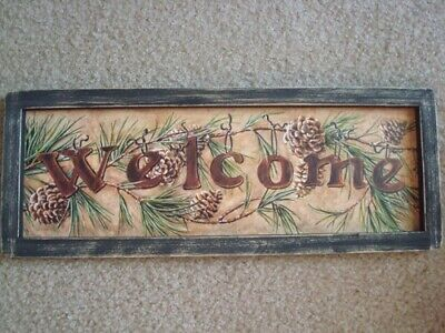 """Primitive Country Print *WELCOME* with pine cones black frame 17 1/2' x 6 1/2"""""""