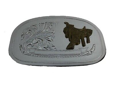 Vintage Western Style Silver Tone Belt Buckle with Brass Saddle