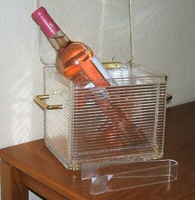 Vintage Hollywood Style Ribbed Lucite Ice Bucket Wine Cooler Ice Tongs Regency