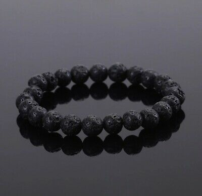 Black Lava Bead Aromatherapy Essential Oil Diffuser Stretchy Yoga Bracelet Sm-Md