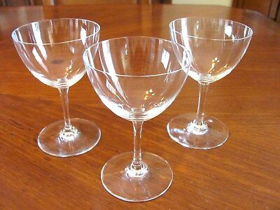 3 Vintage Baccarat France Signed Perfection Crystal Wine Sherry Stem Glasses Euc