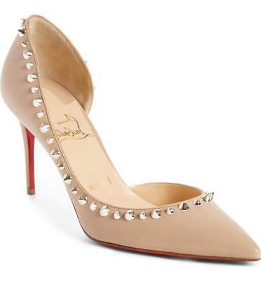 fec1154d0f55 5.5   35.5 Christian Louboutin Nude Leather Irishell Studded Half d Orsay  Shoes