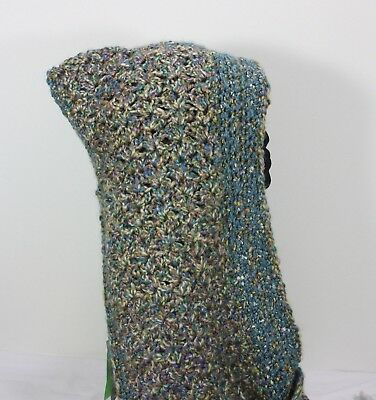 Meo Crocheted Hood Scarf Shawl Wrap Shades Of Blue Green Yellow & Gold Knit