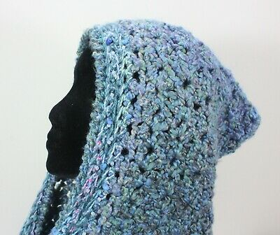 Meo Crocheted Hood Scarf Shawl Wrap Blue Beads Rocks Novelty Yarns Knit