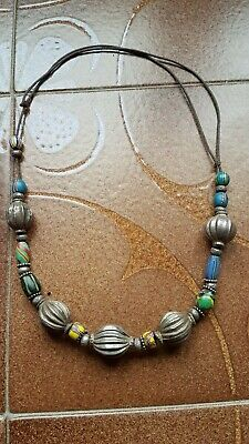 RARE ANCIENT NECKLACE Yemen SILVER : Stunning  with bead glass - Good deal !!!